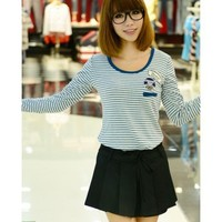Blue Stripe Long Sleeve Women Autumn Korean Style Sweet Cotton T-shirt One Size @WH0368bl $9.99 only in eFexcity.com.