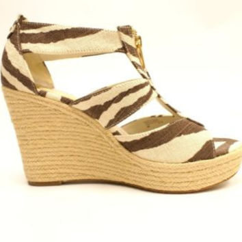 MICHAEL KORS - DAMITA TIGER PRINTED CANVAS WEDGE HEEL