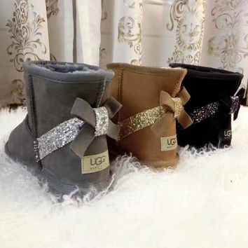 UGG:: bow leather boots boots in tube bow knot shining boots 3-color
