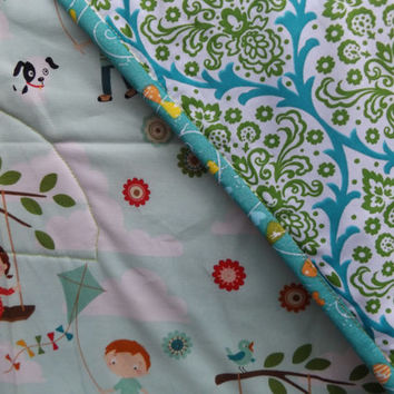 Flying Kites Whole Cloth Large Crib Quilt - Modern Crib Quilt  - Whole Cloth Quilt - Riley Blake