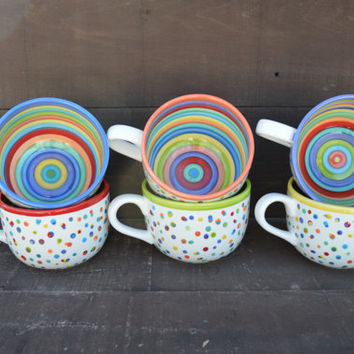 Awesome Dots and Stripes Ceramic Coffee or Soup Mug - 28 oz. - OOAK Hand Painted Mug