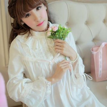 Sleepwear Princess Nightgown High Quality Long Nightdress Cotton long-sleeved nightgown Autumn Winter Bedgown Retro Design