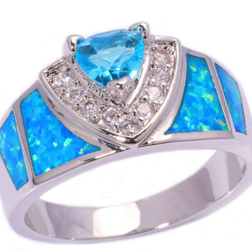 Blue Fire Opal Blue Topaz Cubic Zirconia Silver Stamp Ring