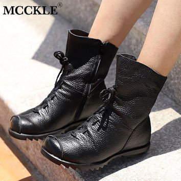 MCCKLE Women Ankle Boots Plus Size Autumn Low Heel Shoes Platform Casual Female Short Boot Fashion Lace Up Fold Ladies Footwear