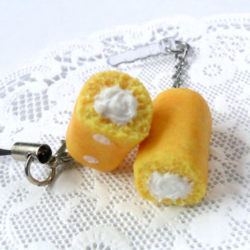 Twinkies Type Cake Phone Charm, For iPhone or iPod, Or Keychains, Kitsch Tiny Snack Cakes, Cute And Kawaii :D