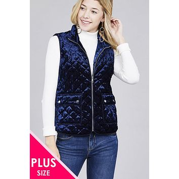 Quilted Padding W/suede Piping Detail Velvet Vest Plus Size Fashion Apparel Clothing For Women Trendy Fashion Styles