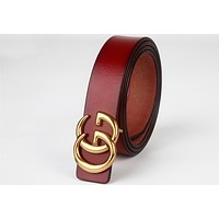 GUCCI simple wild smooth buckle belt double G belt F0333-1 Burgundy