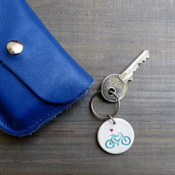 Bike love keychain, hand stamped ceramic blue and white bicycle key chain for him, Father's day gift