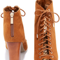 Style Superstar Chestnut Suede Lace-Up Booties