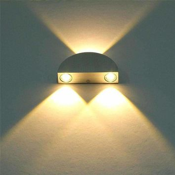 Modern 3W Up Down LED Under Cabinet Light,Semicircle LED Wall Sconce Decor Fixture Hall Porch Bulb AC85-265V Aluminum Shell