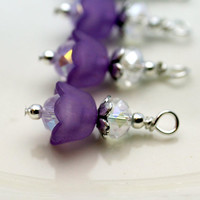 Purple Baby Bell Lucite Flower Bead Dangle Charm Drop Set - 4 Piece Set