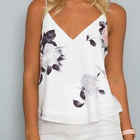 White Floral Print Double V-Neck Cami Top