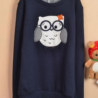 Navy Blue Owl Cartoon Fleece Sweatshirt$39.00