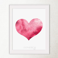 Valentines day gift Valentines decor, Burgundy Pink Heart decor, Heart Art Print Heart wall decor Heart wall print