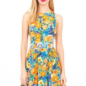 Yellow Floral Sleeveless Pleated Dress