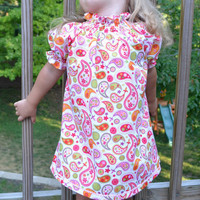 Girls blouse, tunic length, pink paisley,  light short sleeve style top, size 3T, handmade, USA