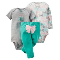 Carter's ''You Make Me Smile'' Bow Bodysuit & Pants Set - Baby Girl, Size: