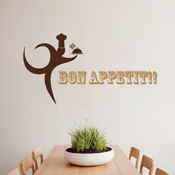Phrase Bon Appetit Chef with Dish Kitchen Cafe Wall Decal Vinyl Sticker Wall Decor Home Interior Design Art Mural M1023