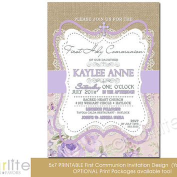 First Communion Invitation - Girl - burlap lace lilac beige floral - 5x7 vintage style, typography, unique communion invitation - You Print