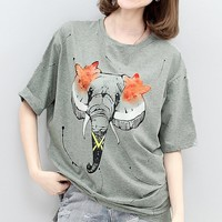 MapleClan Women's Elephant Print Long T Shirt