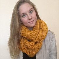 Chunky Extra Long Infinity Scarf • Acrylic Yarn • Oversized Scarf • Knit Scarf • Fall/Winter Scarf •STANDARD Knit •
