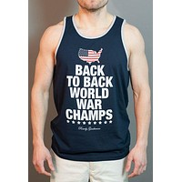 Back to Back World War Champs Tank Top - America Silhouette Edition - in Navy by Rowdy Gentleman - FINAL SALE