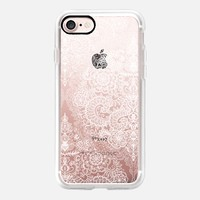Crystal White Vintage Lace on Transparent iPhone 7 Case by Micklyn Le Feuvre | Casetify