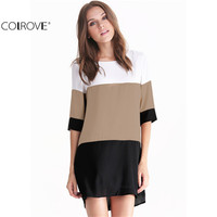 COLROVE Summer/Fall Women Fashion Beach Dresses Plus Size Formal Elegant Office White Coffee Black Block Half Sleeve Dress