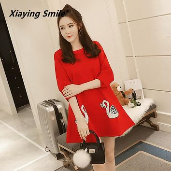 Xiaying Smile Women Maternity Dress Female Fashion All-Match Boat Neck Sexy loose Embroidery Striped Short Dresss Long Sleeve