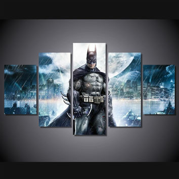 Batman Night Storm In Gotham 5-Piece Wall Art Canvas