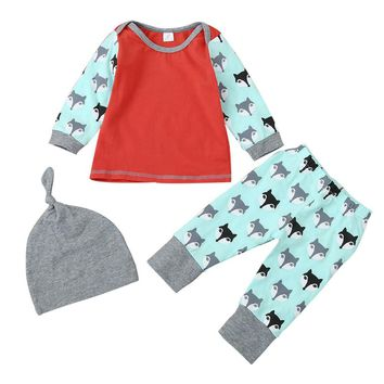 Cute Fox baby clothes set Newborn Baby Boys Girls Fox Print Blouse+Pants Cap 3PCS Outfits Clothes Set