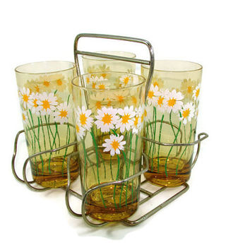 4 Daisy Glasses in Carrier, Amber White and Yellow Flower Tumblers in Holder Barware