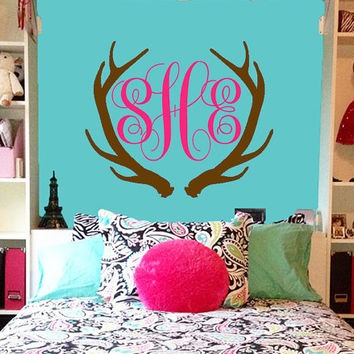 Monogram Wall Decal | Deer Antlers Initial Wall Decal | Nursery Decal | Antlers Monogram