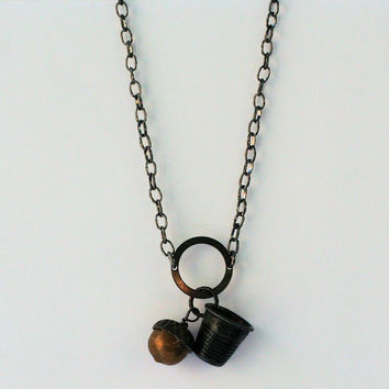 Peter Pan Kiss Thimble for Wendy Neverland Necklace in Gunmetal and Antique Brass