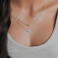 Beaded Opal Necklace, Layered Gold or Silver Necklaces, Light Blue or White Opals, Girlfriend Gift, Minimal Necklace [N-104 L]