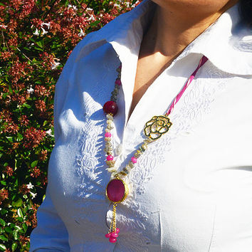 SALE GEMSTONE NECKLACE 75%, Long Pink and Grey gemstone beads necklace with rose shape pendant and  gold plated speacial design by Soophie
