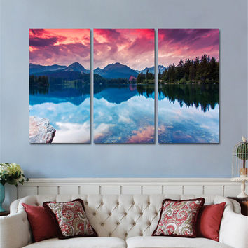 Canvas Painting Unframed Wall Pictures for Living Room Posters and Prints Modern Sunset Landscape Wall Art Home Decor 3 Panals