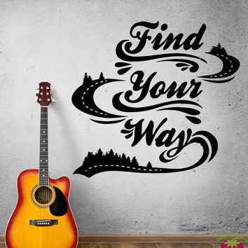 Wall Decal Road Way Track Run Highway Traveling Journey Vinyl Sticker (ed932)