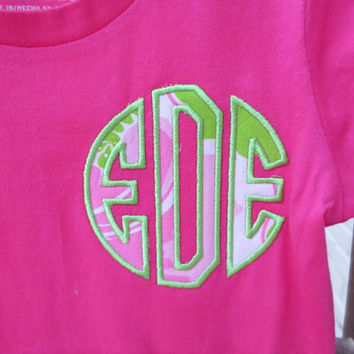 Monogrammed Girls T-shirt featuring Lilly Pulitzer Fabric Embroidered Initials