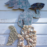 Mermaid Wall Art/Seashell Mermaid/Beach House Wall Art/Boho Beach House