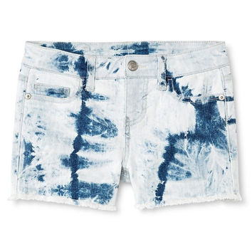 Cherokee Girls' Tie Dye Straight Jean Short, Blue, X-Small