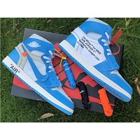 The 10: Off White x Nike Air Jordan 1 North Carolina Sneaker