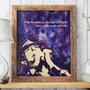 Leonard Cohen art poster | Printable art | Wall decor | Music poster | Instant download | Folk Art | Sale art | Purple galaxy art