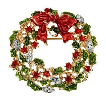 Bowknot Enamel Wreath Christmas Brooch