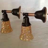 Antique Pair of 1920s Art Deco Brass Sconces Diamond Carnival Glass Shades