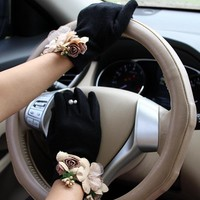 Brand Gloves Winter Women Gloves Cashmere Mittens Female Beig Flower Warm Wool Gloves Women Driving Gloves
