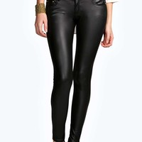 Evie Low Rise Wet Look Trousers