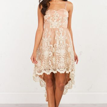 AKIRA Embroidered Party Dress With Bustier Neckline And High-Low Hem in Nude