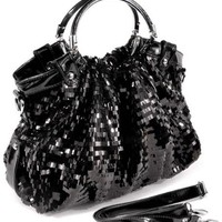 MG Collection Sequin Patent Evening Bag, Black, One Size