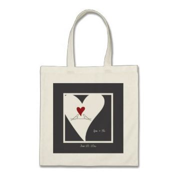 Cute white doves in love personalized tote bags: You + Me: More styles and colors are available: Wedding favor or any anniversary gift idea